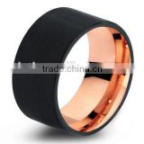 Mens Wedding Band Two Tone Black Rose Gold Tungsten Ring Brushed Center Dome 10mm Comfort Fit