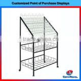 powder coated rotating metal wrought iron display stand with wheels