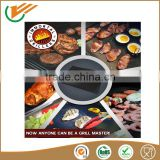 China supplier Non-stick BBQ Grill Mat Easy Clean Reusable fiber glass coated teflon PTFE with lowest price