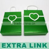Handmade handle white insert green fancy paper wrapped heart closure chocolate cardboard box