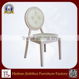 White Round Back Louis dining Chair with buttons for Hotel Hall