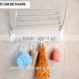 TOWEL RACK SHELF PREMIUM ALUMINUM SILVER FOLDED BATH WITH 5 HOOKS SHELF WASHCLOTH HOLDER