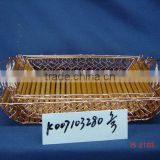 Bamboo wire storage tray with handle
