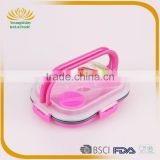Portative silicone collapsible lunch box with lock