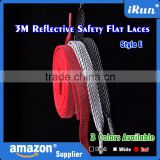 Black White Red Reflective Tape For Sneakers Laces - Flat Safety Custom Length & Color & Packaging Shoe Laces - 3 Colors