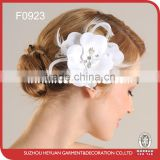 White flower with crystal and rhinestone accented with feather wedding bridal flower comb headpiece