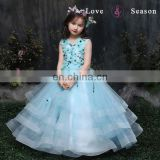 XXLF202 sleeveless blue flower fancy dress costumes flower pin for long dress