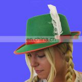 Green Women's bavarian hat green tyrolean felt with feather oktoberest beer festivals hat