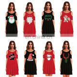 Winter Girls Christmas Ugly Santa Claus Short Women Strapless Dresses One Piece for Fat Outfit