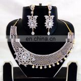 Wedding wear Diamond Necklace set-Wholesale American Diamond Gold Plated Jewellery-CZ Bridal Necklace set 2016
