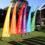 Custom digital printing colorful outdoor display big bali flag with long tail
