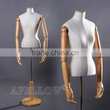 Fashion wholesale adjustable female mannequin upper body manikin with base wooden arm women dummy mannequin M003- F-7