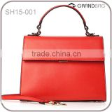 Hot selling wholesale new fashion red genuine leather handbag / leather bags women shoulder bag/ leather satchel bag                                                                         Quality Choice