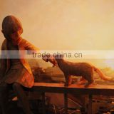 Best Service and Low Price Amazing Design Hand Paint Girl and Cat 3d Oil Painting on Canvas
