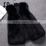 Factory direct fashion lady's black fox fur vest fur vest