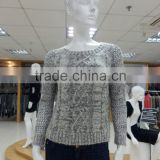 High quality new lady cardigan women's pullover crew neck design pattern winter/2016 long sleeve sweaters