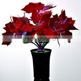 High quality LED Fiber optic Poinsettia Flowers for Christmas with high metal pot with CE and ROHS