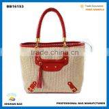 smile face straw bag hot sales beach bag women high quality chain beach tote bag factory straw bag