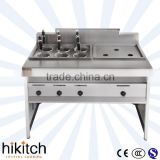 Commercial kitchen equipment for fast food restaurant have Steamer/fryer and 6-Basket pasta cooker