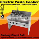 Guangzhou commercial kitchen equipment factory vertical electric pasta cooker six basket with soup pot / fryer
