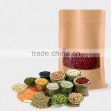 food grade stand up kraft paper bag with clear window and zipper for candy,nuts,tea,coffee,hemp,cannabis,marijuana