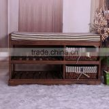 modern style made of paulownia wood and straw weaving home funiture bed stool leg rest stoll