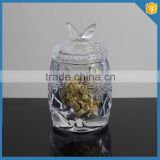 Hot sales clear glass candle jars and lids with butterfly lid