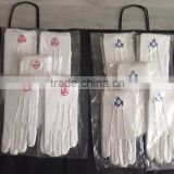 white cotton gloves/Masonic White Cotton Gloves,Custom Masonic Gloves