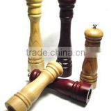 Custom Wooden Salt Pepper Mill Grinder with Ceramic or Alloy Metal Grinding Core and Various Shapes and Sizes