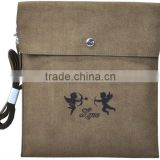brown synthetic suede tablet sleeve with insert flap,flocked logo microfiber bag for ipad
