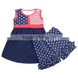 Wholesale 2016 star band dress mini shorts pentagramme july 4th baby clothes kids wear boutique girl clothing