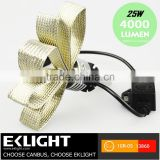 6000k 4000Lum High Low Beam 25w Led Headlight H4 H7 H9 H11 Led Headlight Replace Halogen Bulb