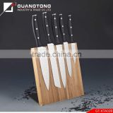 6 pcs forged pom handle kitchen knife set 440 stainless steel blade with magnetic bamboo knife block