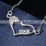 Factory price heart chain ,thin chain 925 sterling silver plated jewelry, heart shape pendant necklace for women