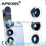 Phone camera accessory clip mobile phone lens 3 in 1 lens set macro wide angle fisheye lens for Samsung /iphone