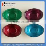 LongRun China New Products Fancy Glass Oval Bowls Sets of 4 Colorful Glassware for Holiday Use