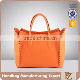 5085- OEM custom suede leather handbag female fashion designer handle bag orange color satchel hand bag