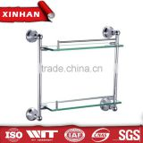 Bathroom accessory set hotel style wall-mounted chrome plated zinc alloy dual tier glass shelf