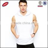 customed white cheap plain sleefveless hoodies front pouch pocket hoodies for men/sleeveless drawstring hood