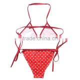 One-piece kids bikini ,hot sale girls' swimsuit,red dot swimwear