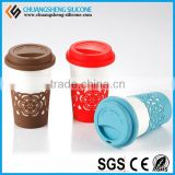 economic silicone bowl cover,coffee cup set with heat protection material