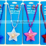 4th of july party supplies custom blinking star pedant beads flashing light up necklace for independence day