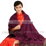 CX-B-P-36G Lady's Fashion Acrylic Scarf/Pashmina Scarf/Pashmina Shawl With Fur Flower