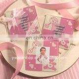pink glass coaster with baby photo frame cheap wedding gift for guest