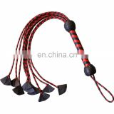 HMB-513E LEATHER FLOGGER 9 O CAT BRAIDS TAILS RED BLACK BULLWHIPS