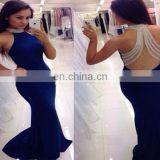 100% Real Samples Popular Blue Beaded Floor Length Mermaid Halter Satin Modern Prom Dress