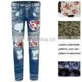 custom mens embroidery underneath floral biker strecth denim jeans pants designer jeans men wholesale