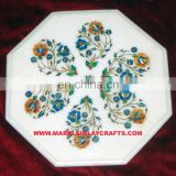 White Marble Inlay Table Top, White Marble Inlay Coffee Table Top