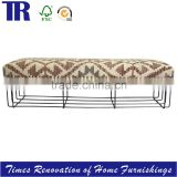 French Style Wooden Frame Upholstery Bench,Fabric covered Bench,Long Upholstery Bench