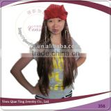 Fancy Dress fake synthetic hair hat wigs with Beads